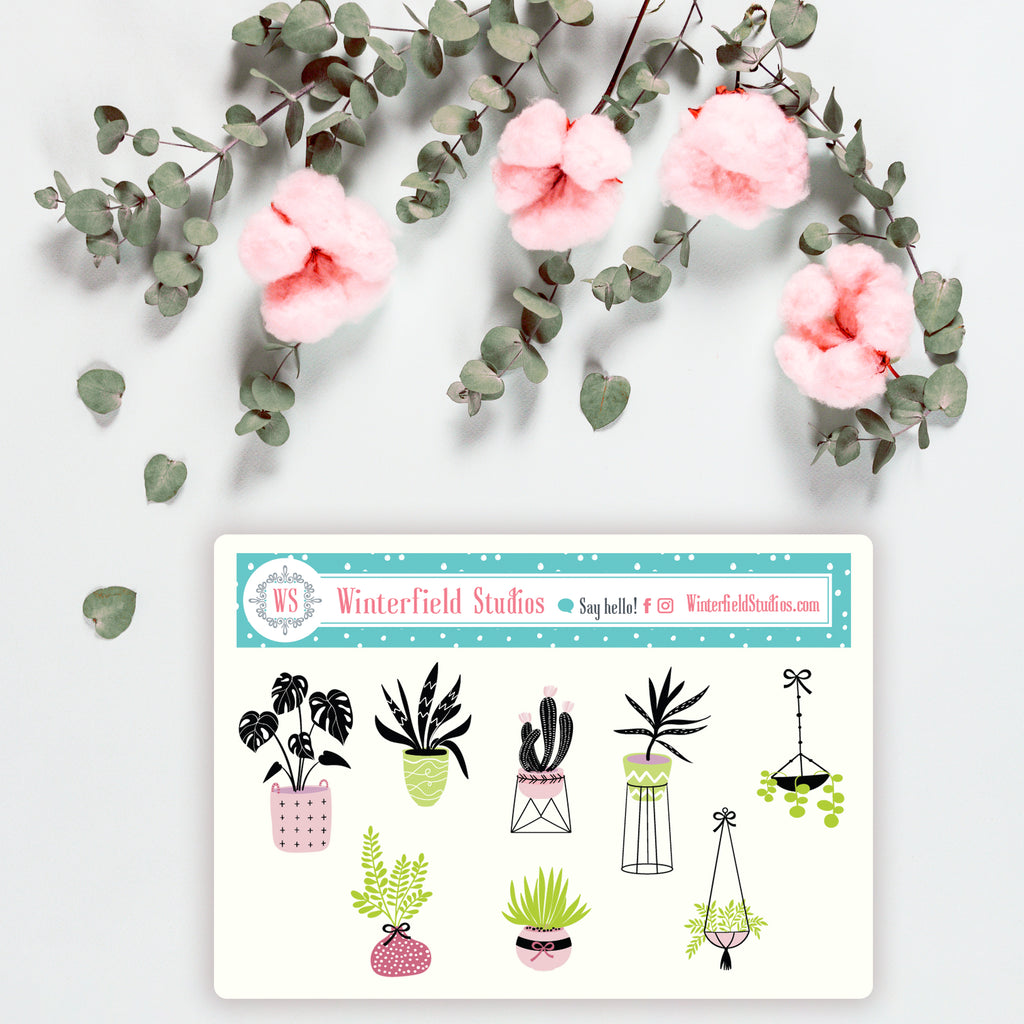 Cute Indoor Plants In Fancy Vases Sampler Stickers - Fits All Planners