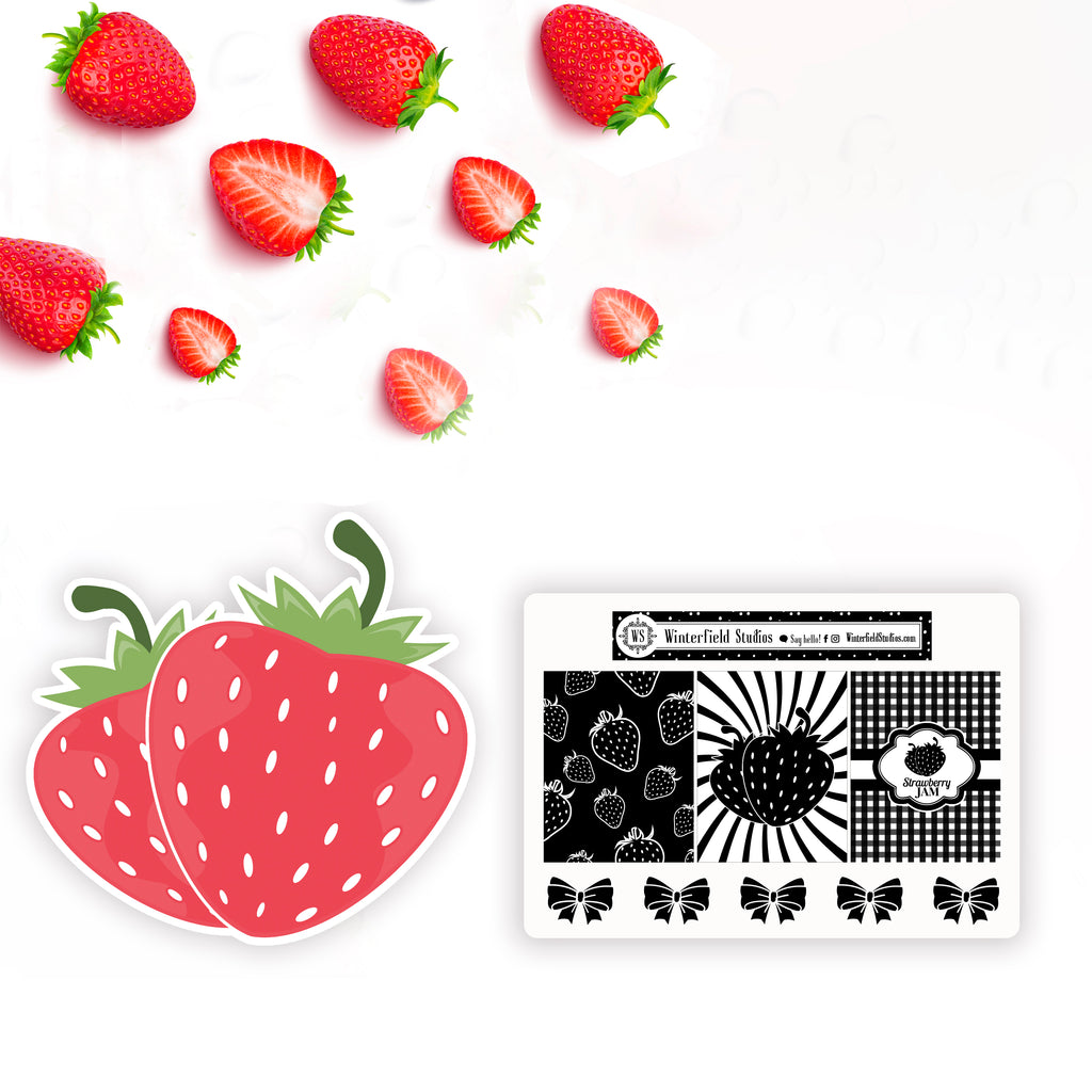 Strawberry Fields Coordinating Strawberry Die Cuts & Berry Foil Overlay Full Box Stickers