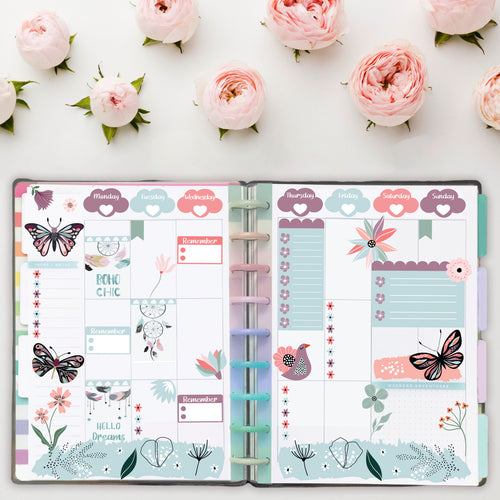 Summer Floral Symphony Art Deco Stickers - Fits All Planners