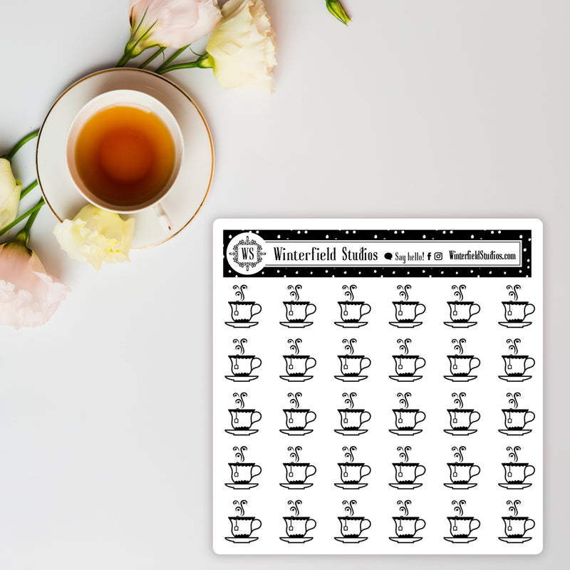 Foiled Drink Icon Stickers - Coffee - Tea - Wine - Fits All Planner Types & Sizes