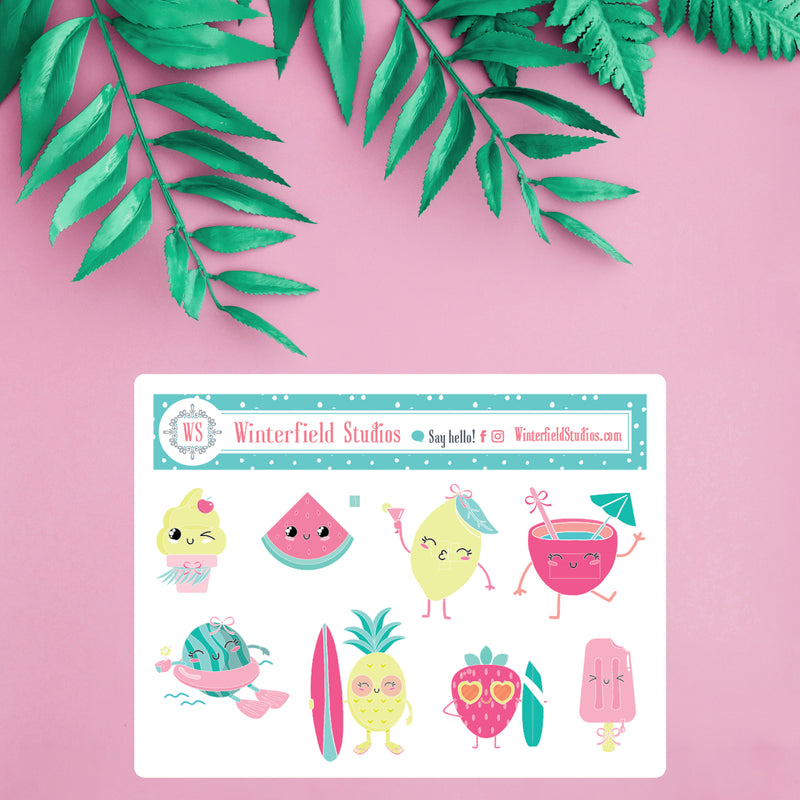 Summer Kawaii Fruit Characters - Kawaii Stickers - Art Deco Stickers