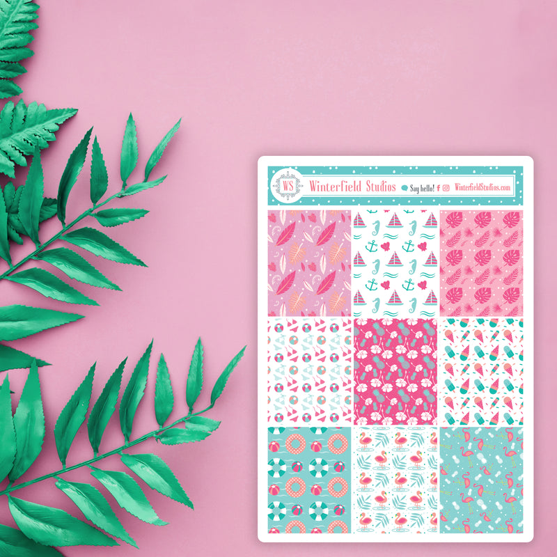 Summer Pattern Full Box Stickers - Beach Stickers - Fits Vertical Planners