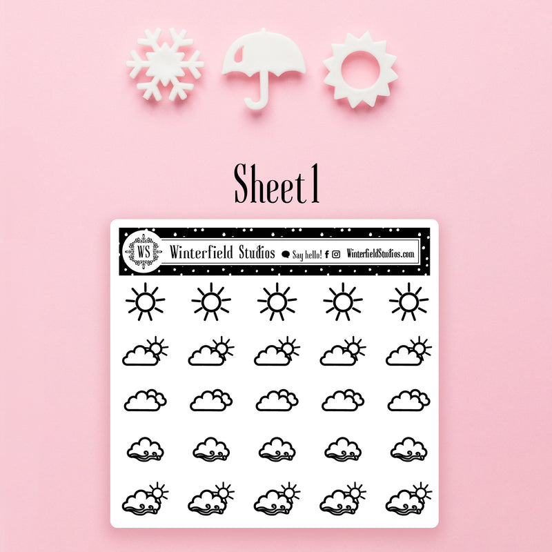 Weather Icon Stickers - Foiled Icons - Fits All Planner Types & Sizes