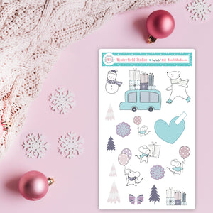 Winter Merriment Planner Sticker Kit - Fits Vertical Planners