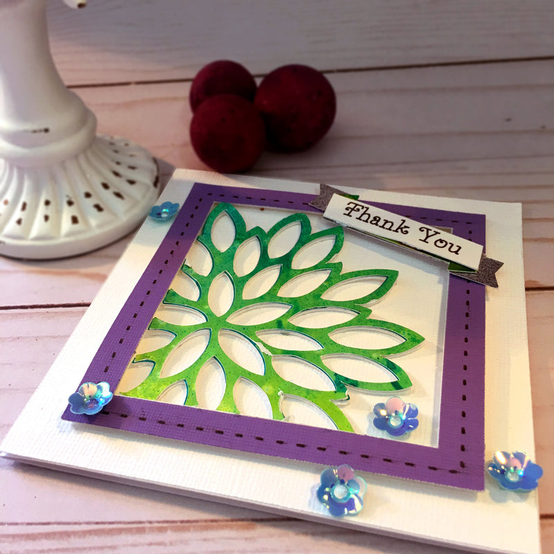 Flower Thank You Card - Handmade Thank You Card - Greeting Card - Customer Thank You Card - Purple Thanks Card - Giving Thanks Card