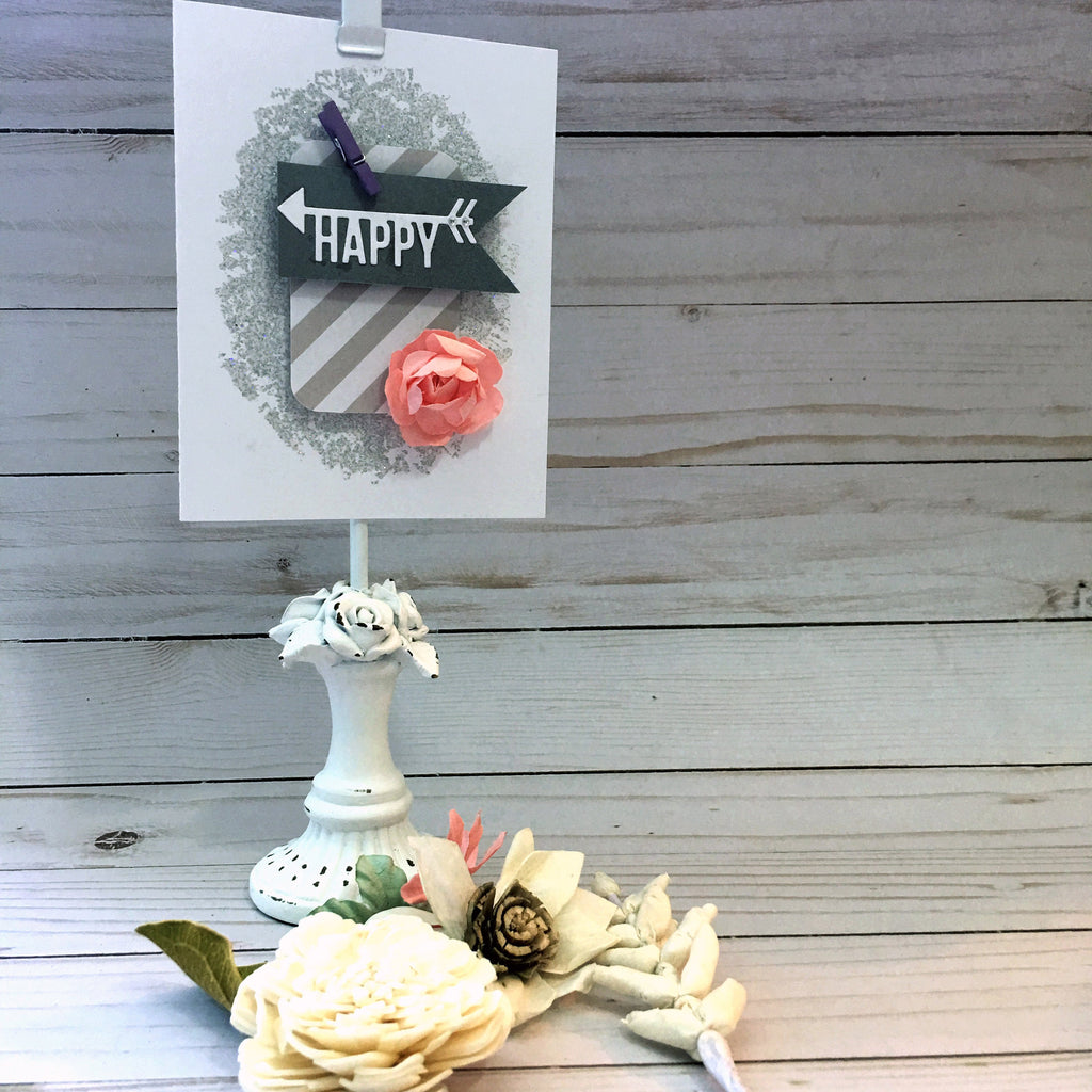 Just Because Card - Greeting Card - Happy Card - Handmade Card with Coral Flower & Stardust Embossing Powder - Encouragement Card
