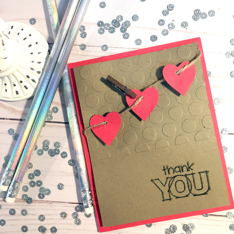 Heart Thank You Card - Embossed Pattern Handmade Thank You Card - Rustic Heart Card - Greeting Card