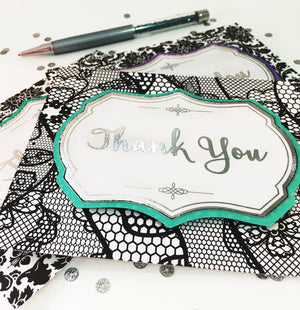 Thank you Cards - Set of 3 Note Cards - Handmade Greeting Card - Professional Thank You Card - Elegant Lace Pattern
