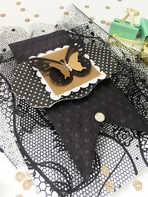 Toulle Handmade Birthday Card - Happy Birthday wishes - Greeting Card - Celebration Card - Tulle, Lace, & Gold Foil
