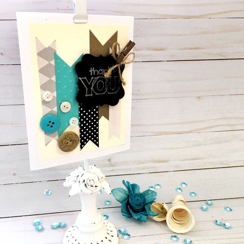 Cool Thank You Card for Friend - Thank You Card - Handmade Greeting Card - Patterened Paper & Buttons