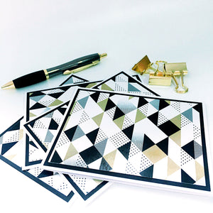 Modern Note Cards Set of 4 - Geometric Pattern - Gold, Black, White Stationery Note Cards