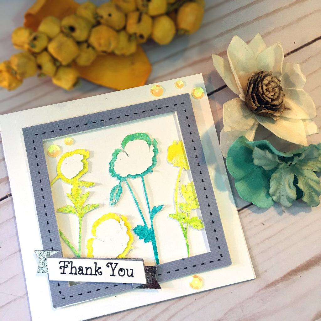 Flower Thank You Card - Greeting Card - handmade Card Using Alcohol Inks - Thank You Card For Her - Customer Thank You Card
