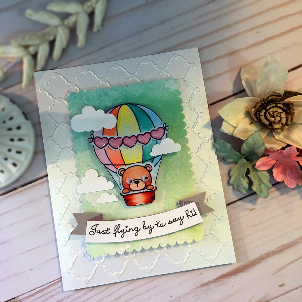 Just Because Card - Thinking of You Card - Encouragement Greeting Card - Handmade Card - Pastel Air Balloons in Sky