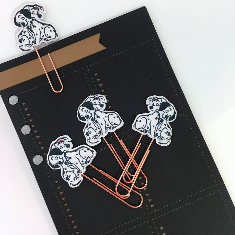 Puppy Dog Dalmatians Planner Paper Clips Set of 3 - Rose Gold - Handmade Planner Accessories