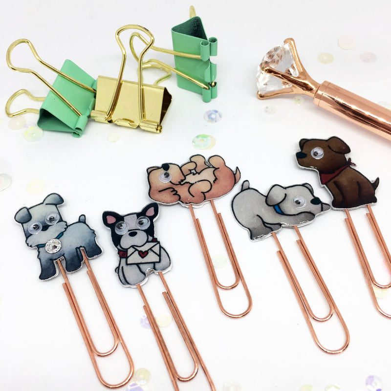Planner Paper Clips Set of 5 - Rose Gold Puppy Dog Planner Paper Accessories