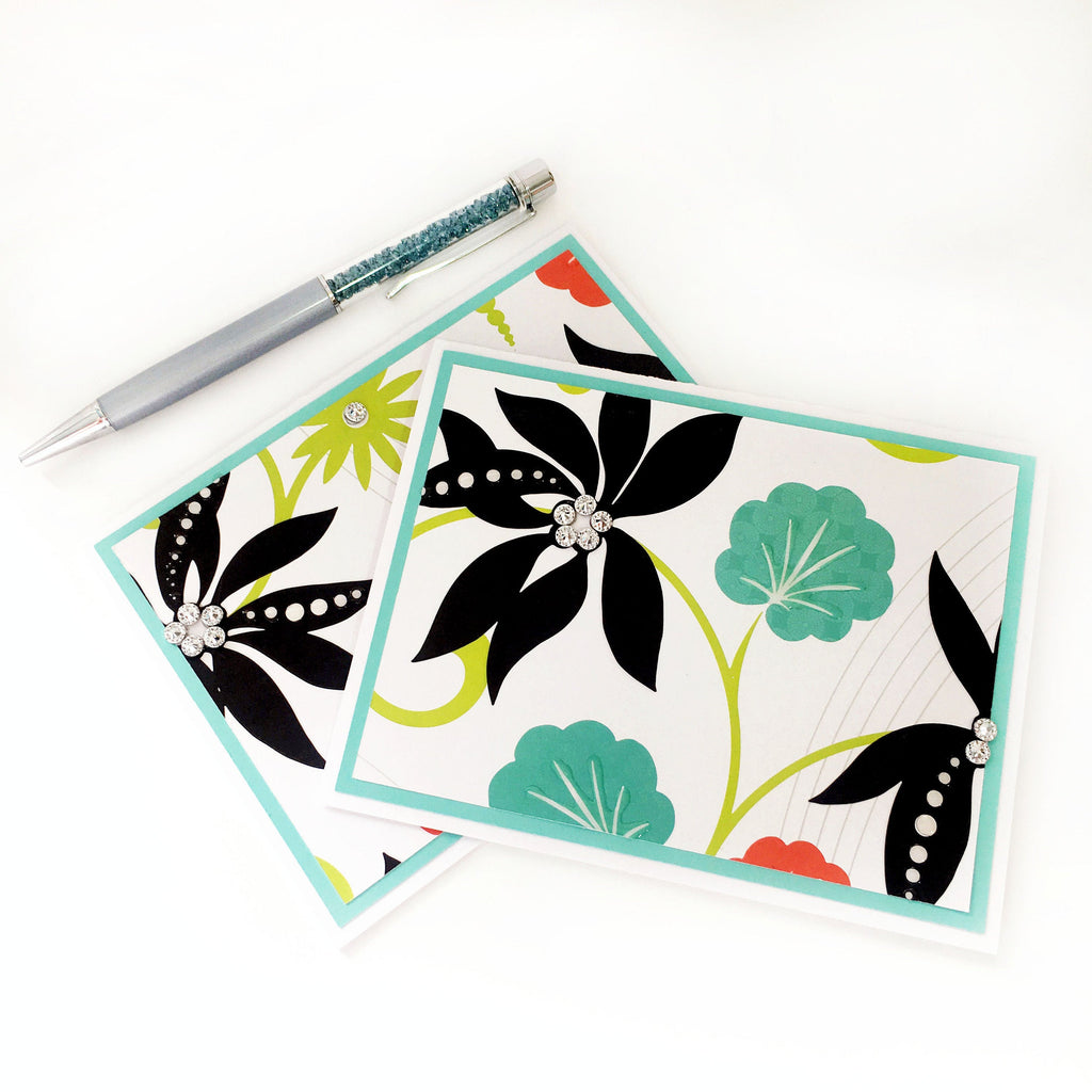 Tropical Note Cards Set of 2 - With Rhinestones & Glossy Accents - Aqua, Black, Green, Orange
