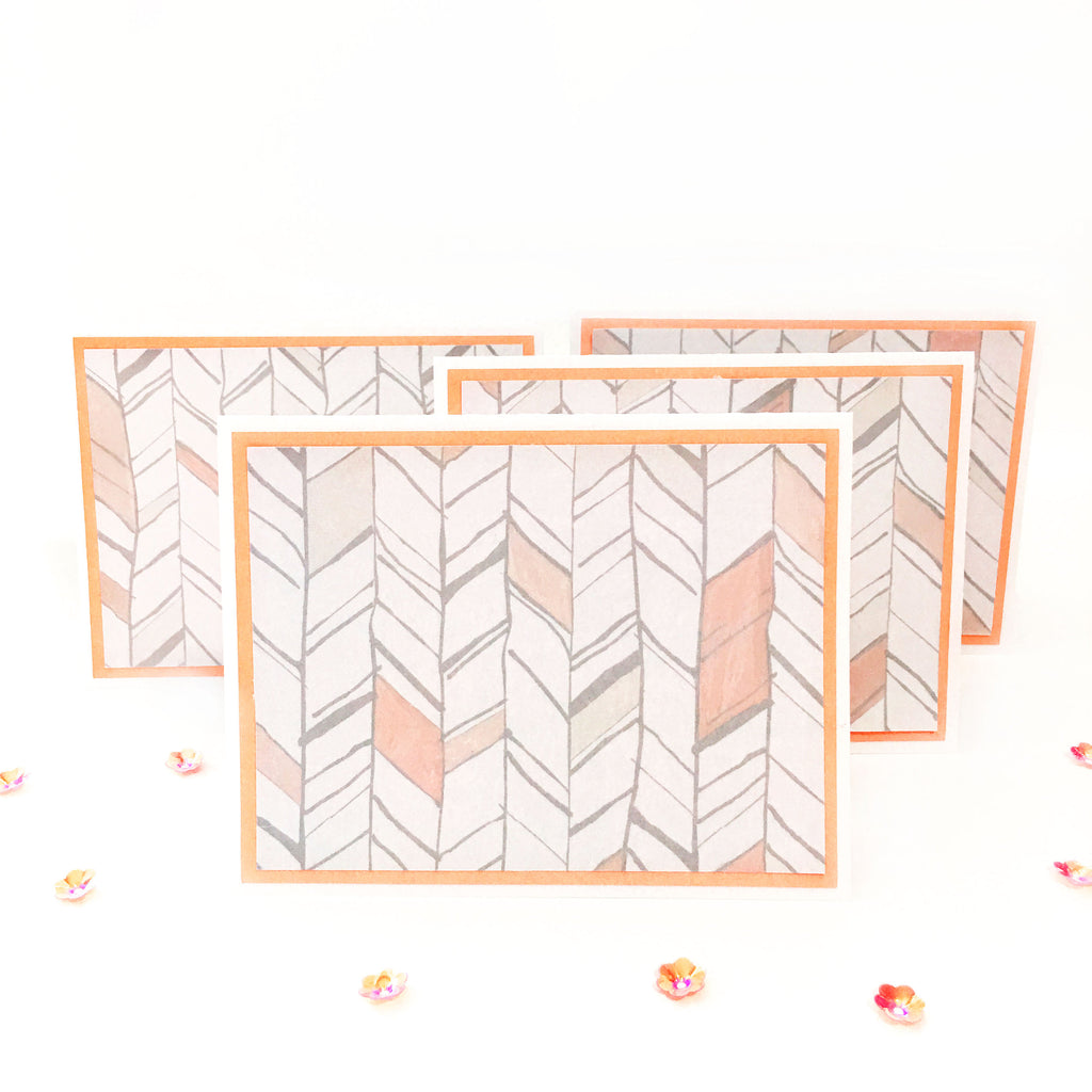 Modern Peach Note Cards Set of 4 - Hand Drawn Arrows With Border & Glossy Accents