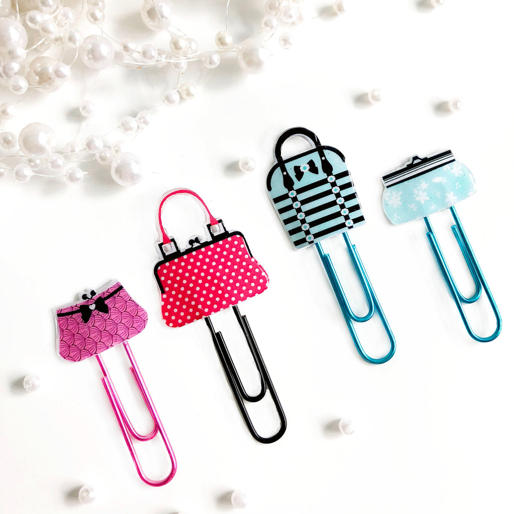 Pretty Handbag Planner Paper Clips - Set of 4 Patterned Purse Designs - Aqua and Pink Metallic Paper Clips