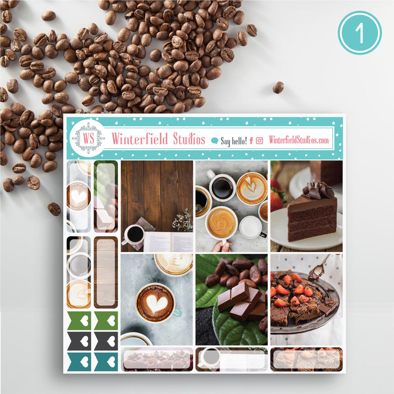 Coffee & Chocolate Lover Fall Planner Stickers with Washi Tape - Photo Box Stickers - Fits Erin Condren, Happy PLanner