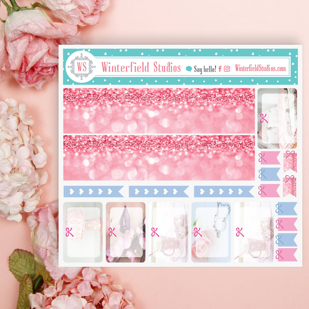 Blush Pink Beauty Planner Stickers - Valentine's Day Stickers - Pink Pastel Sparkle Stickers - Fits Erin Condren, Happy Planner