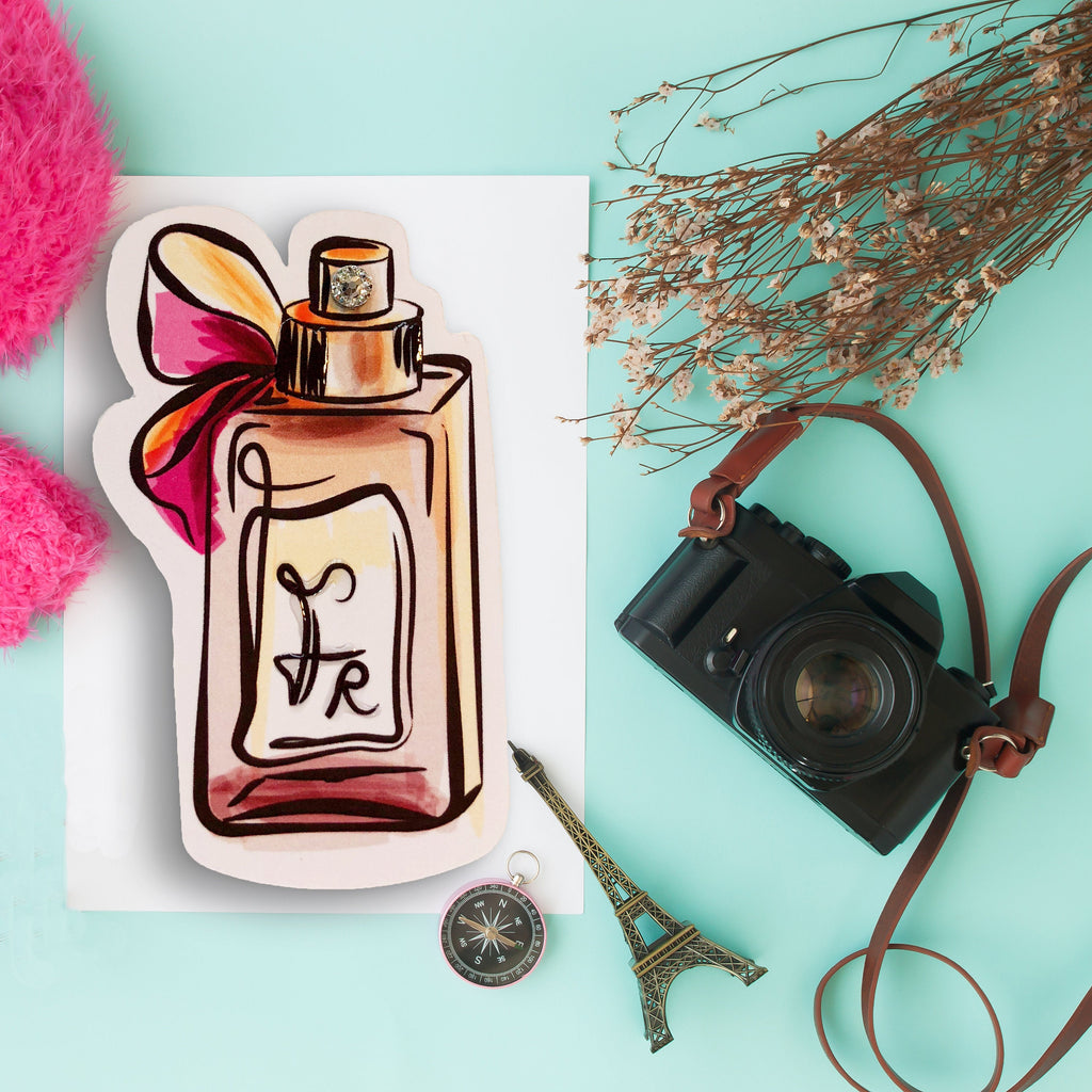 French Perfume Planner Die Cut - Paris Designer Perfume Cologne Die Cut with Bow