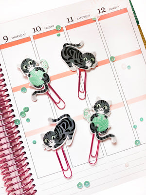 Grey & Black Tabby Kitty Cat Planner Paper Clips - Set of 4 Tabby Cat Clips - Planner Clips