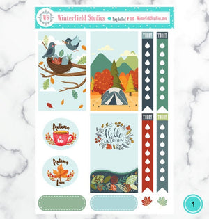 Cute Fall & Autumn Season Planner Stickers - Weekly Planner Sticker Kit and Monthly Sticker Kit - Fits Happy Planner