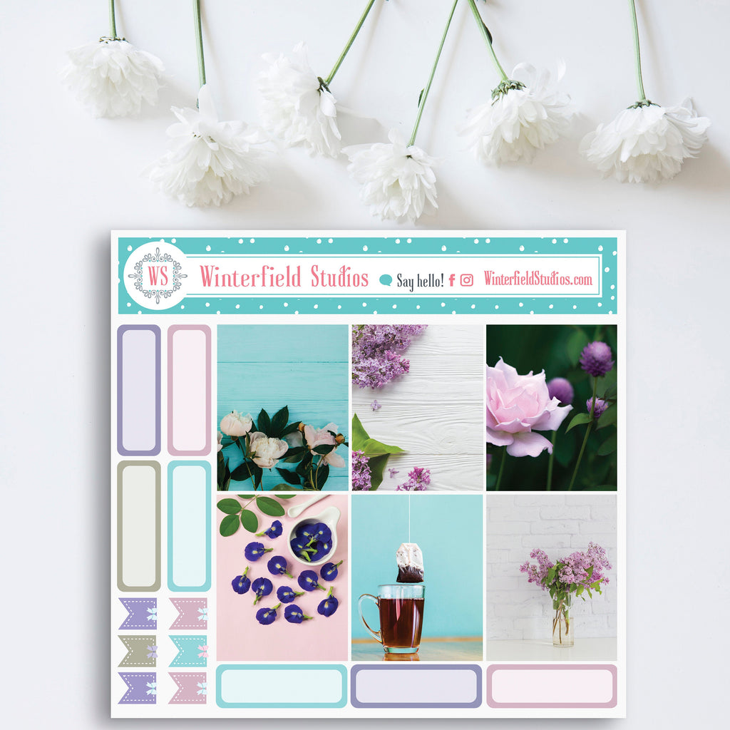 Fall Lavender Planner Stickers - Vertical Full Box Planner Stickers - Purple Floral Photo Stickers - Fits Erin Condren, Happy Planner