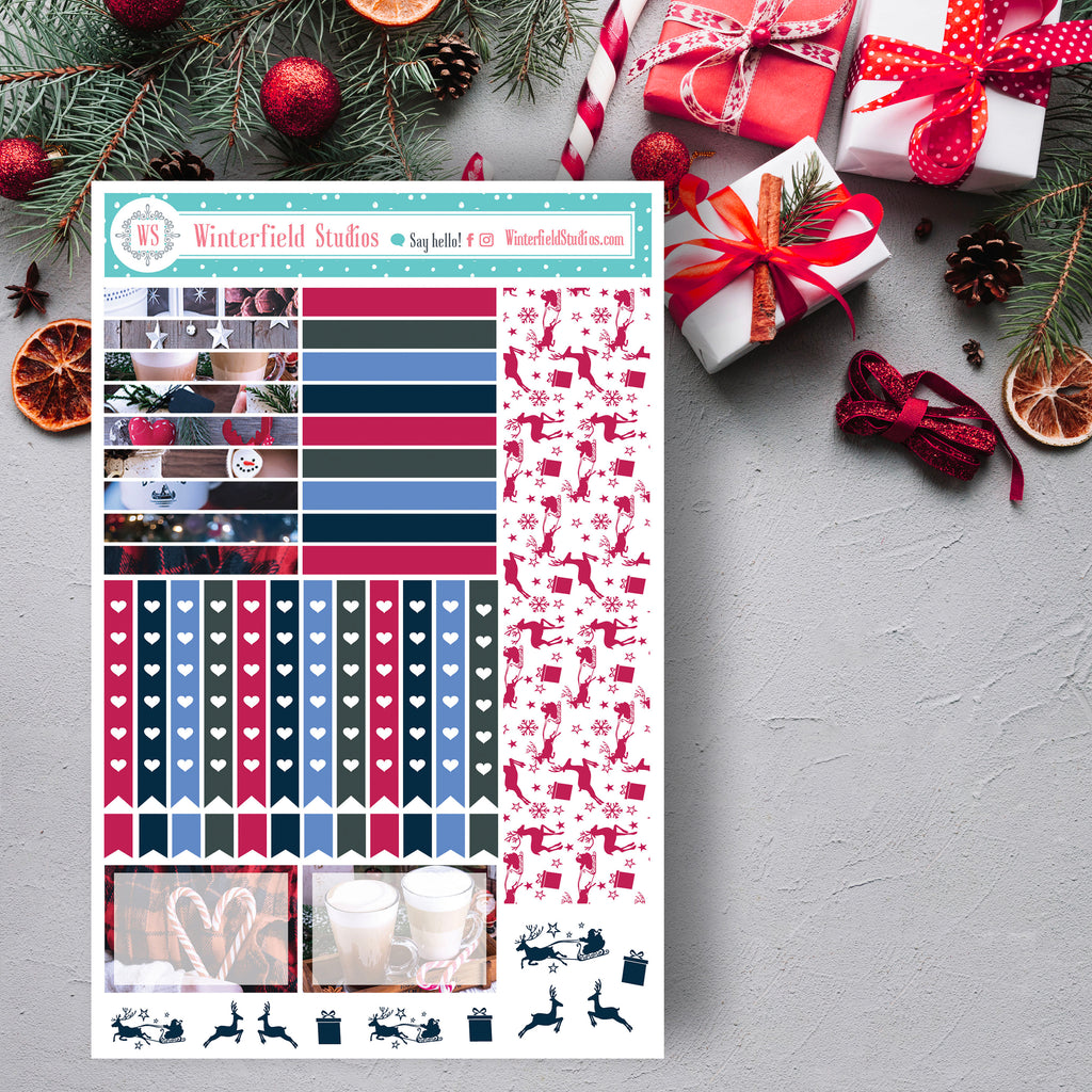 FOIL Rustic Christmas Planner Stickers - Christmas Winter Full Box Stickers - Photo Stickers - Fits Erin Condren, Happy Planner