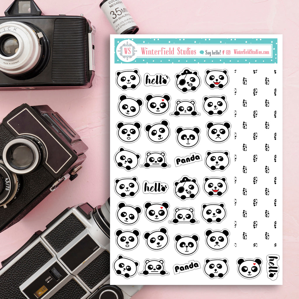 Kawaii Panda Bear Planner Stickers - FOIL Animal Icon Stickers - Rainbow Panda Bear ECLP & Happy Planner Stickers