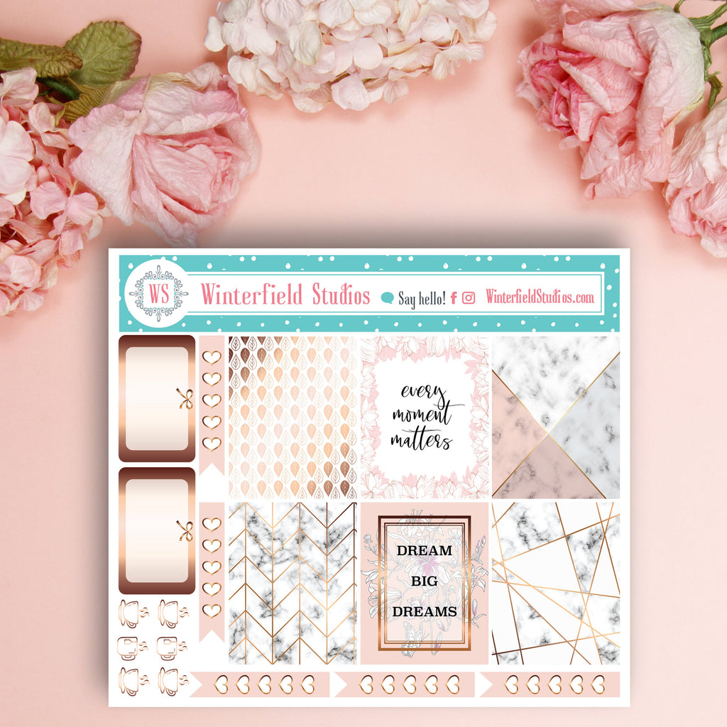 Rose Gold Look Geometric Patterned Planner Stickers