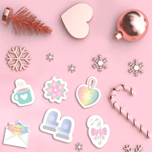 Pastel Rose Gold Christmas Planner Paper Clips - Winter Clips - Coffee Paper Clips - Happy Mail - Candy Cane - Winter Mittens