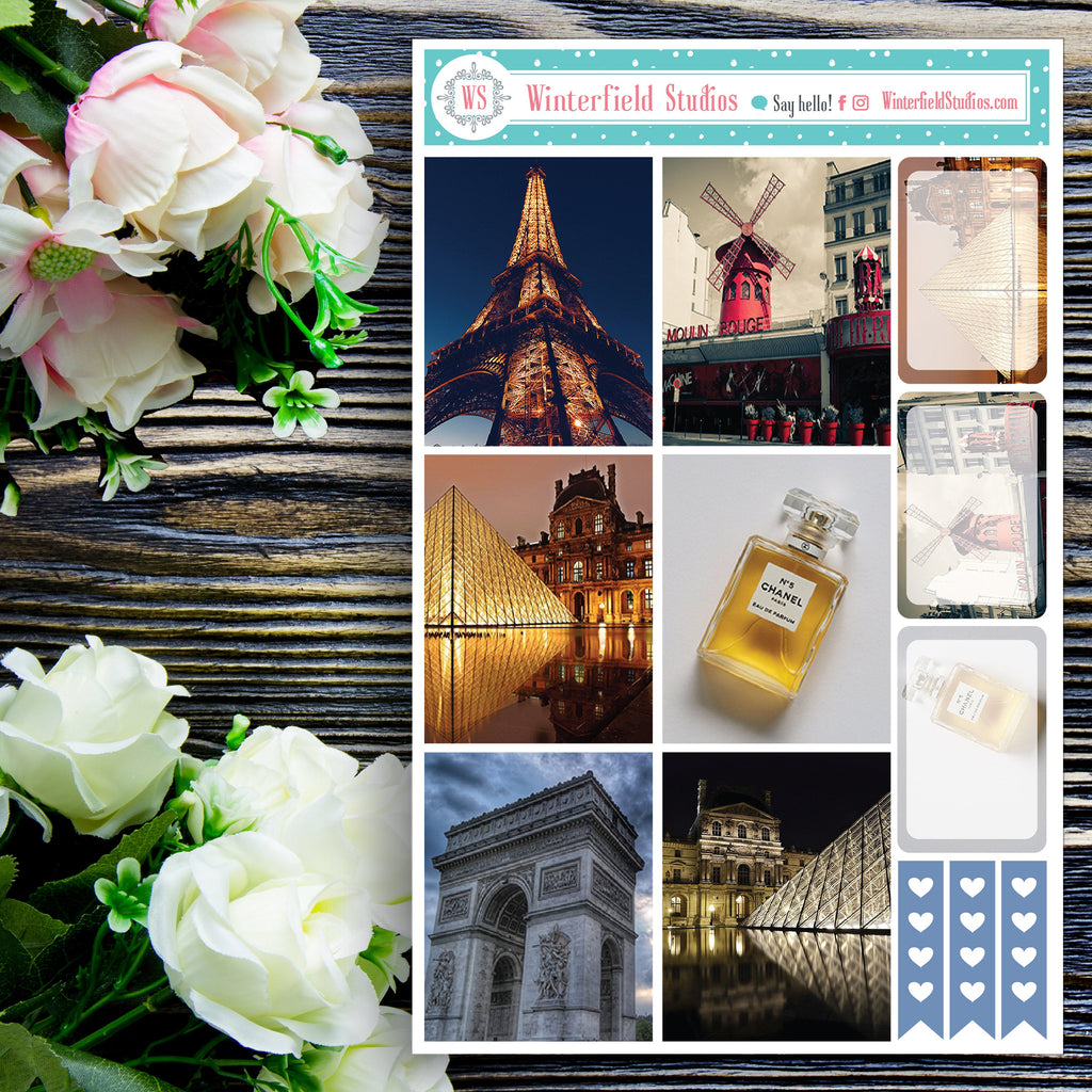 Paris Planner Stickers - Romantic Louvre &  Eiffel Tower Planner Stickers - Fits ECLP, Happy Planner - French Stickers