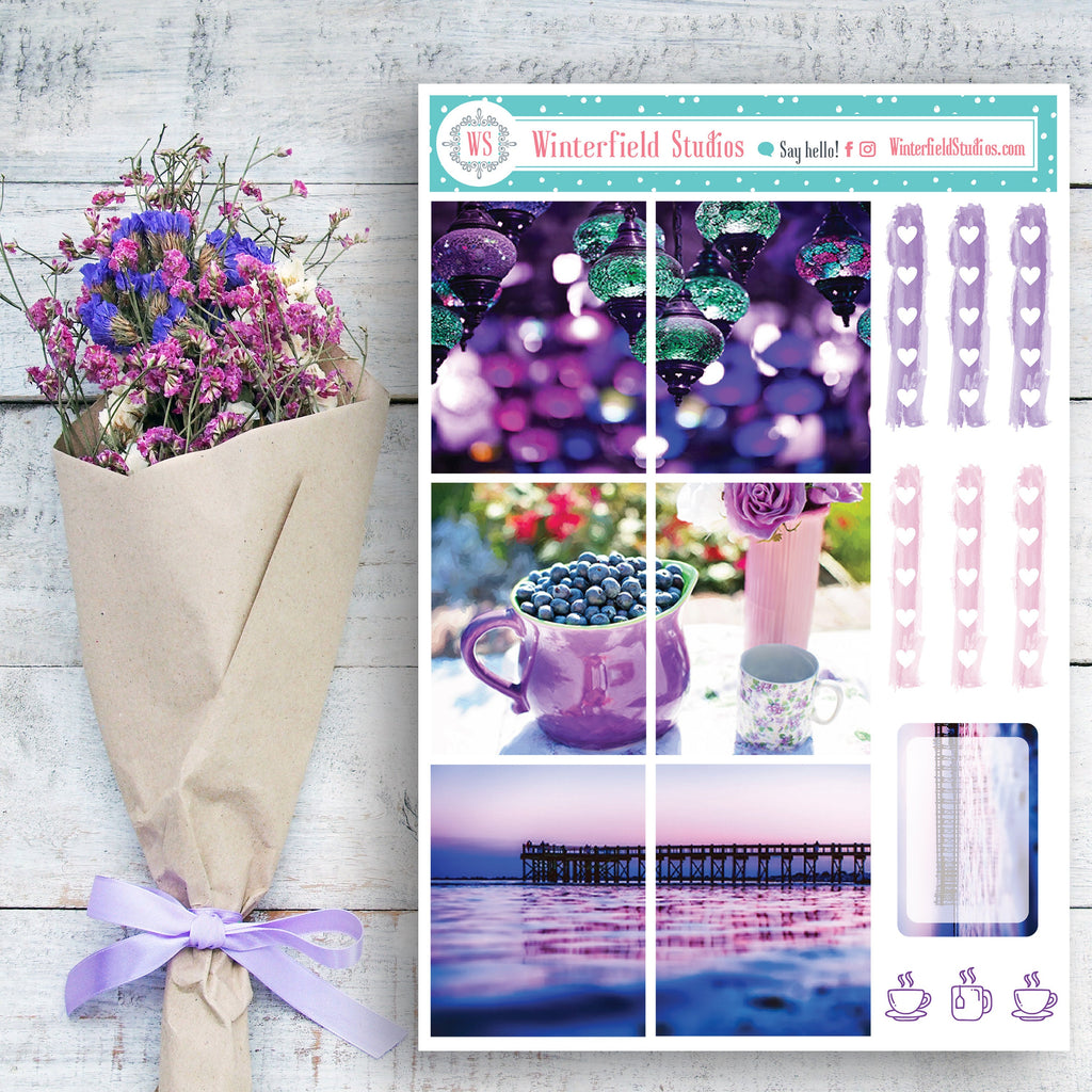 Purple City Photo Planner Stickers - Purple & Pink Flower Nature Stickers - Full Box Photo Stickers - Fits Erin Condren, Happy Planner
