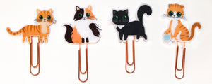 Kitty Cat Planner Paper Clips Set of 4 - Calico Cat - Tuxedo Black Cat - Tabby Cat - Orange & White Cat - Rose Gold Planner Paper Clips