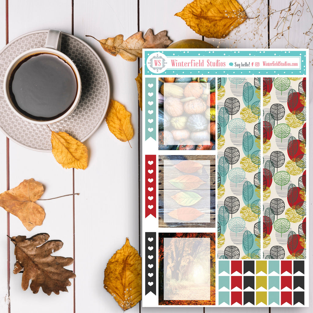 Golden Fall Autumn Planner Stickers Kit - Photo Box Stickers - Cute Hedgehog - Pumpkins - Fits Erin Condren, Happy Planner