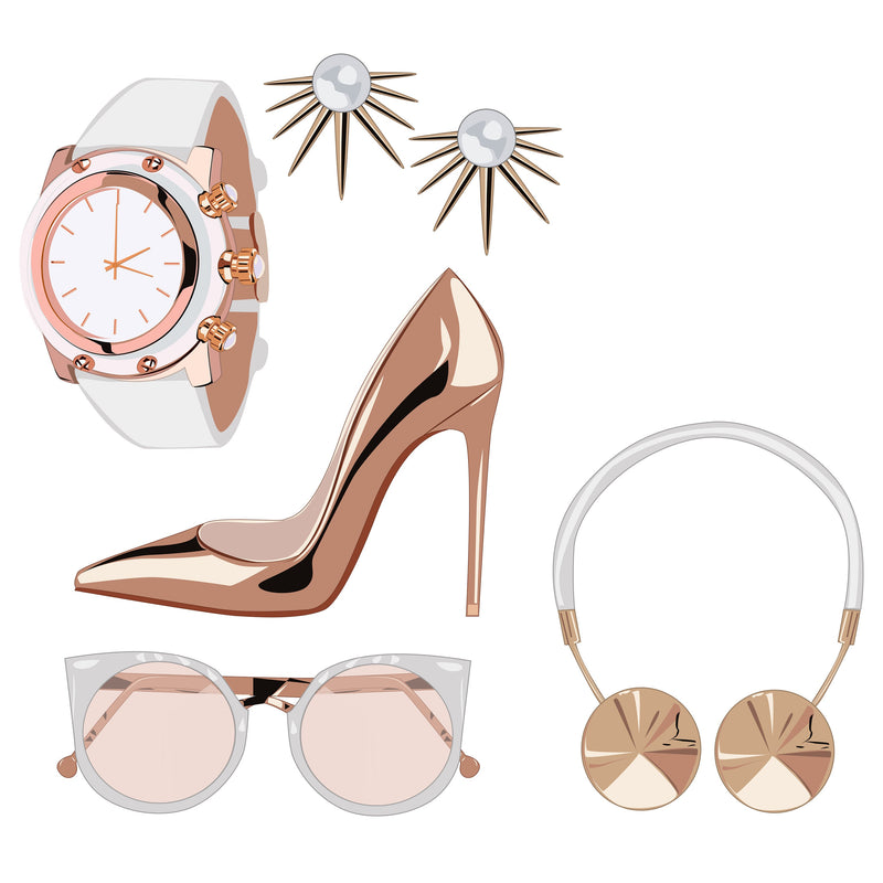 Rose Gold Look Planner Die Cuts - Rose Gold Clutch - Watch - Sunglasses - High Heel Pump - Head Phones - Earrings