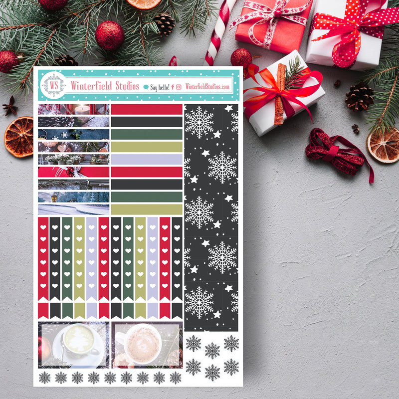 FOIL Traditional Christmas Planner Stickers - Winter Photo Box Stickers - Fits Erin Condren & Happy Planner - Holiday Season Stickers