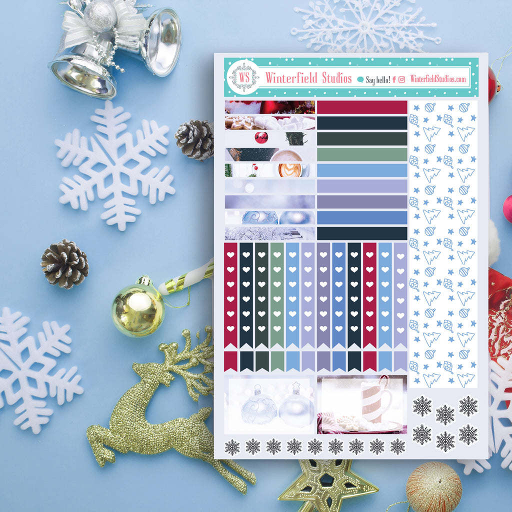 FOIL Blue Christmas Planner Stickers - Christmas Full Box Stickers - Photo Stickers - Fits Erin Condren & Happy Planner