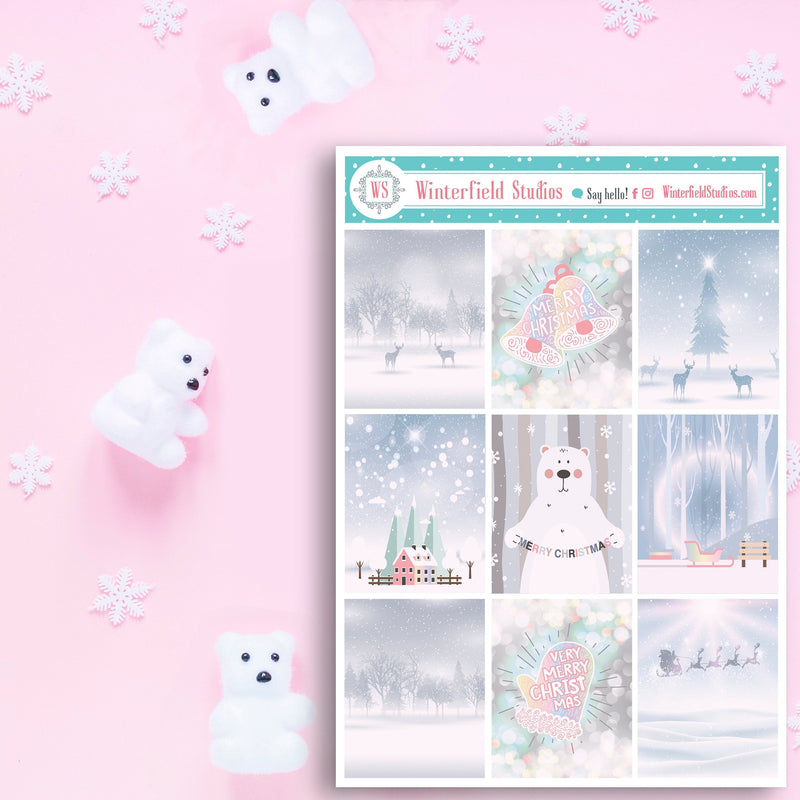 Pastel Pink Snowy Christmas Planner Stickers - Cute Winter Bear Holiday Stickers - Foil Stickers - Fits Erin Condren, Happy Planner