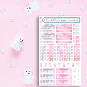 Pastel Pink & Glitter ECLP Header Stickers - Hydrate Stickers - Functional Stickers - Bow Paper Clips -  Heart To Do List Stickers