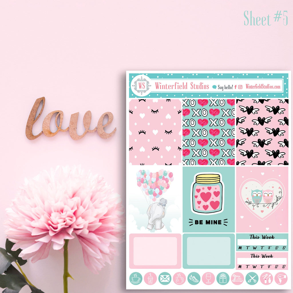 I Love You - Cute Valentine's Day Stickers - Pastel Full Box Stickers - Valentine's Day Monthly Sticker Kit - Fits ECLP & Happy Planner
