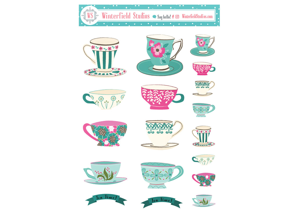 Tea Cup Deco Stickers - Bullet Journal - Hand Drawn Chic Tea Time Planner Stickers - Bujo Stickers - Pretty Stickers