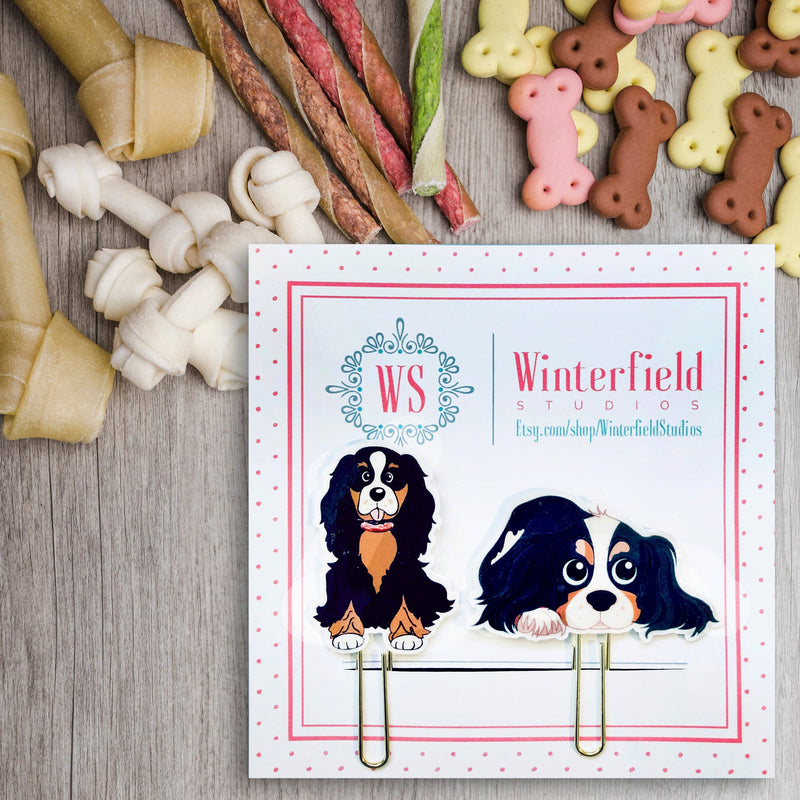 Cavalier King Charles Spaniel Dog (set of 4) - Planner Paper Clips - Gold Puppy Clips - Planner Supplies - Cute Doggy Planner Paper Clips