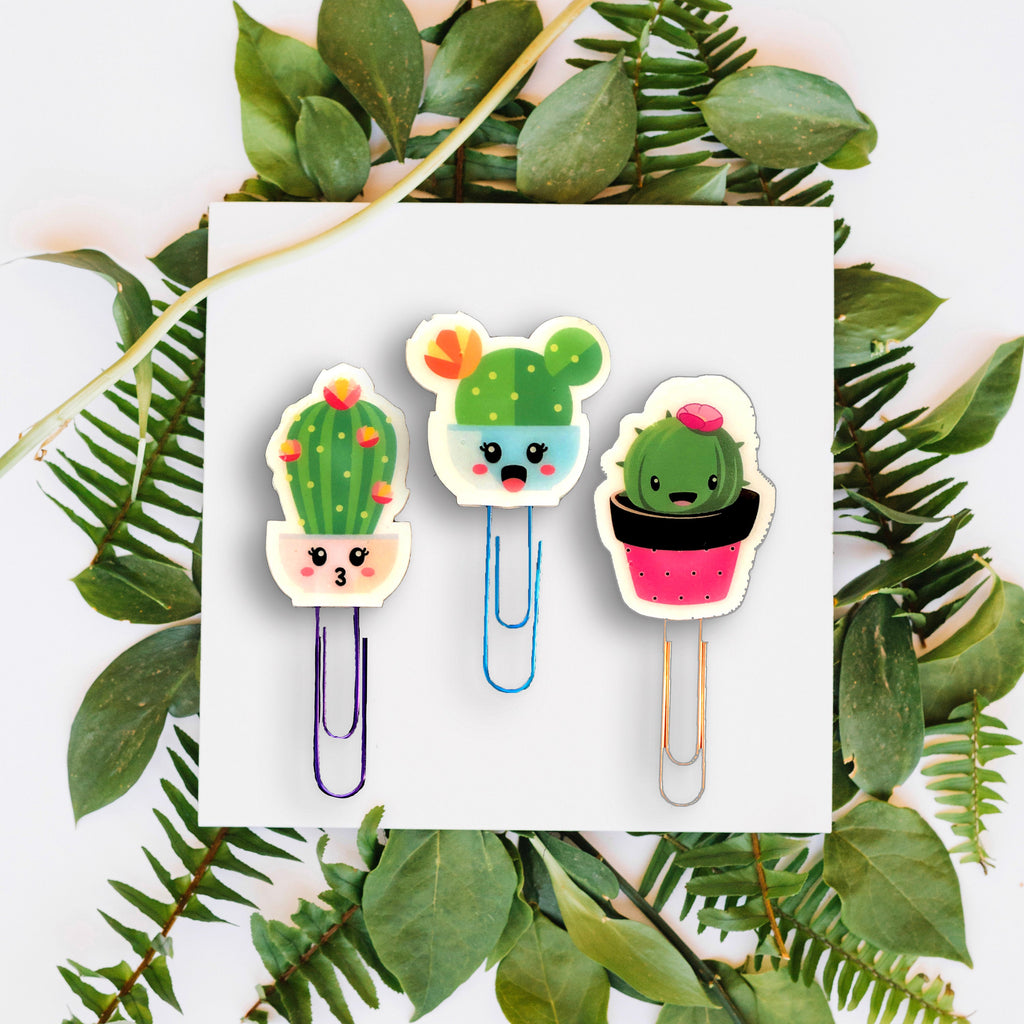Cactus Kawaii Planner Paper Clips Set of 3 - Cactus Succulent Clips - Handmade Planner Accessories - Cute Kawaii Cactus Clips & Stickers