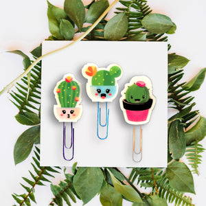 Cactus Succulent Planner Stickers - Set of 19 Cute Plant Stickers - Kawaii Planner Stickers - Planner Paper Clips - Cute Kawaii Clips