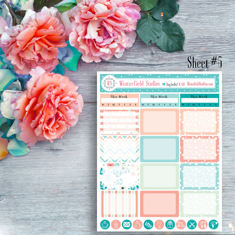 Spring Sticker Kit - Coral, Peach & Mint - Monthly Sticker Kit - ECLP and Happy Planner Stickers - Flower Geometric Pattern