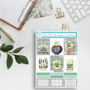 St. Patrick's Day Sticker Kit - March Planner Stickers - Leprechaun Lucky Stickers - Watercolour Stickers - Hand Drawn - Erin Condren