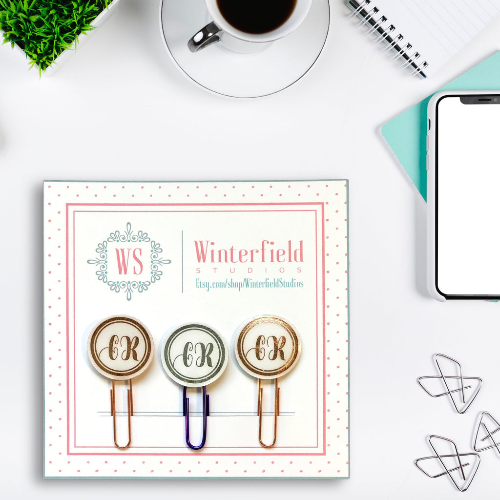 FOIL Monogram Planner Paper Clips - Professional Business Clips - Set of 2 or 3 - Initialed Planner Paper Clips