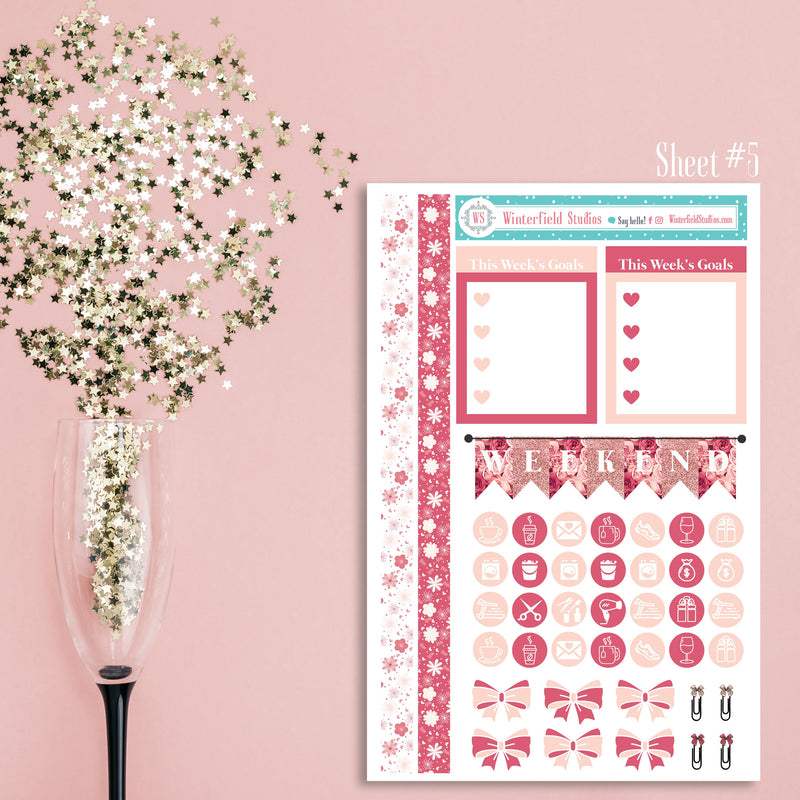 Lady Luxury Monthly Sticker Kit - ROSE GOLD Planner Stickers - Glitter Headers - Photo Boxes - Fits Erin Condren, Happy Planner